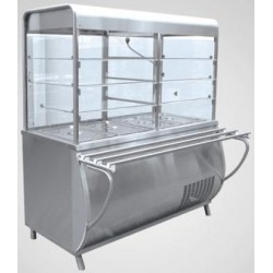Прилавок-витрина холодильный ПАТША ПВВ(Н)-70 М-С-01-НШ вся нерж.1120мм с нейтральным столом 210000001501