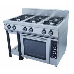 Плита газовая 6-х горелочная Grill Master Ф6ПДГ/800 с комбинированной духовкой