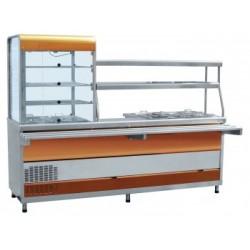 Прилавок-витрина холодильный мармитный универсальный Abat ПВХМ-70КМУ (красное золото)